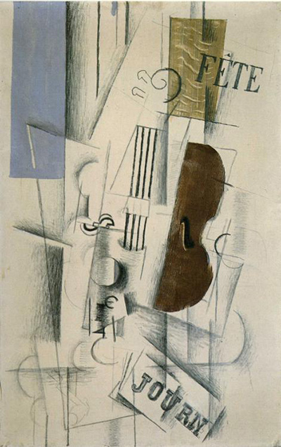 Violin and Newspaper Georges Braque